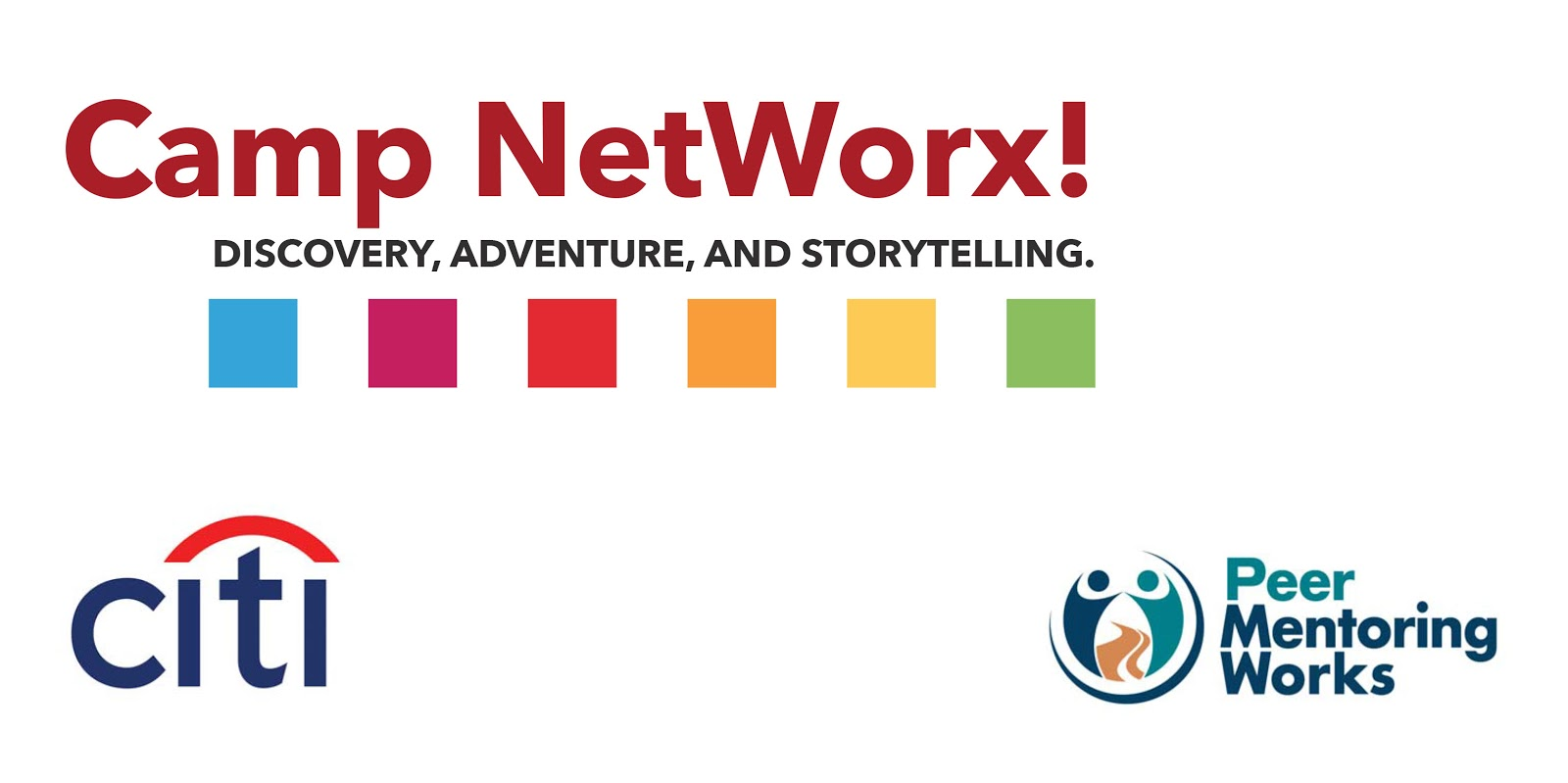 The Camp NetWorx! logo with the Citibank logo below to the left and the Peer MentoringWorks logo to the bottom right.